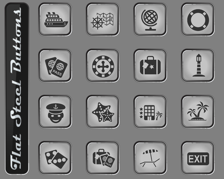 cruise web icons on the flat steel buttons Illustration