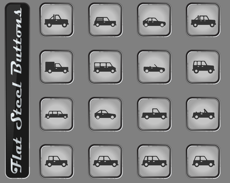 Cars web icons on the flat steel buttons