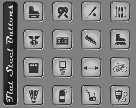 Sportowe wektor sieci web ikony na płaskich stalowych guzikach