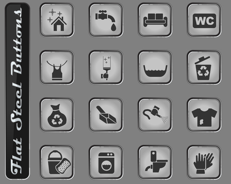 cleaning company web icons on the flat steel buttons