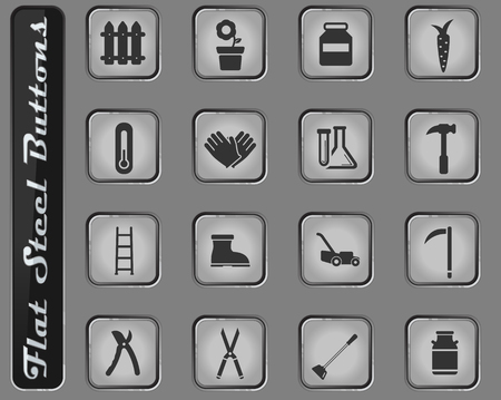 Garden tools vector web icons on the flat steel buttons 일러스트