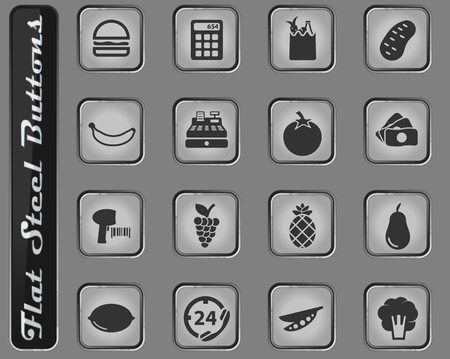 Grocery vector web icons on the flat steel buttons Ilustração