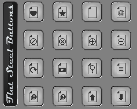 document vector web icons on the flat steel buttons