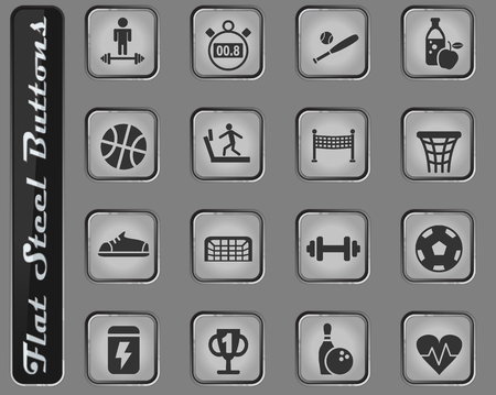 sport vector web icons on the flat steel buttons