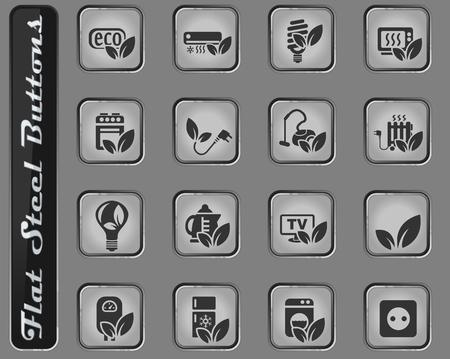 eco web vector web icons on the flat steel buttons Ilustração
