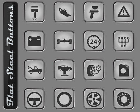 Car service web icons on the flat steel buttons Illustration