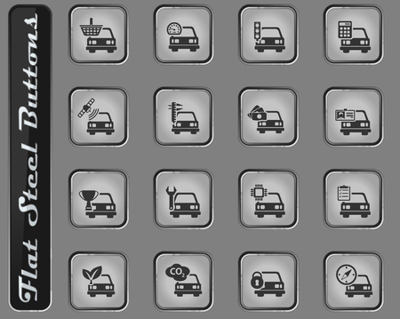 Car service web icons on the flat steel buttons Stock Illustratie
