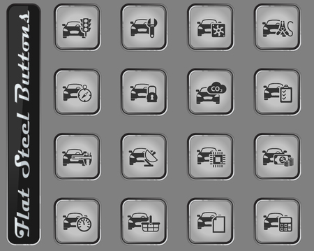 car service vector web icons on the flat steel buttons
