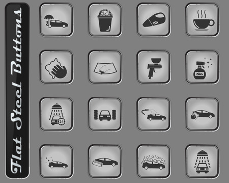 Car wash web icons on the flat steel buttons Illustration