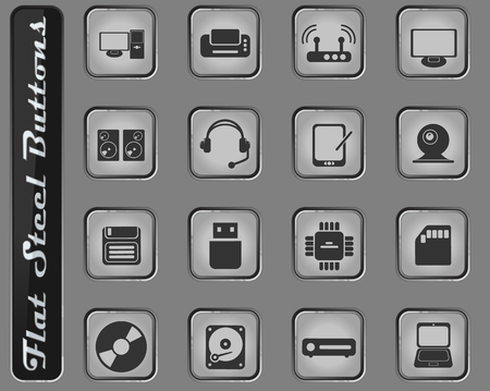 Computer equipment web icons on the flat steel buttons