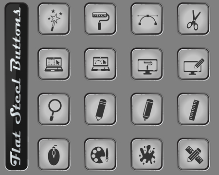 design vector web icons on the flat steel buttons