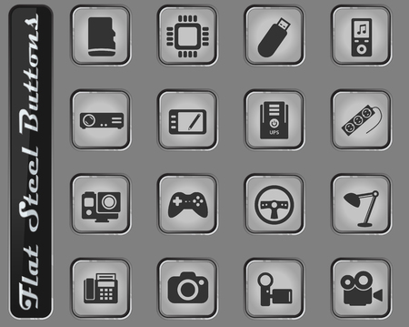 Devices vector web icons on the flat steel buttons