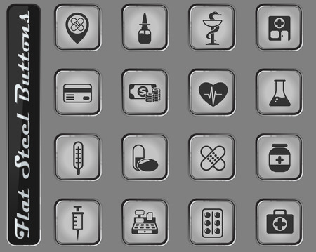 drug store vector web icons on the flat steel buttons
