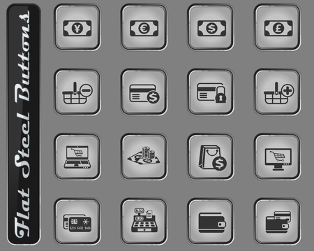 e-commerce vector web icons on the flat steel buttons Illustration