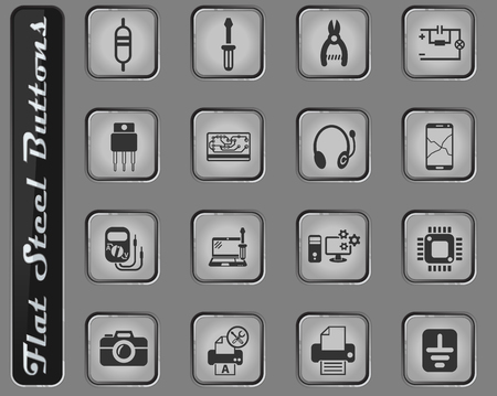 electronics repair vector web icons on the flat steel buttons Illusztráció