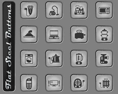 electronics supermarket vector web icons on the flat steel buttons Ilustração