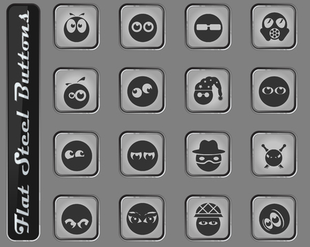 Emotions and glances vector web icons on the flat steel buttons