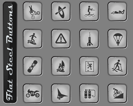 extreme sport vector web icons on the flat steel buttons