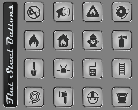 fire brigade vector web icons on the flat steel buttons