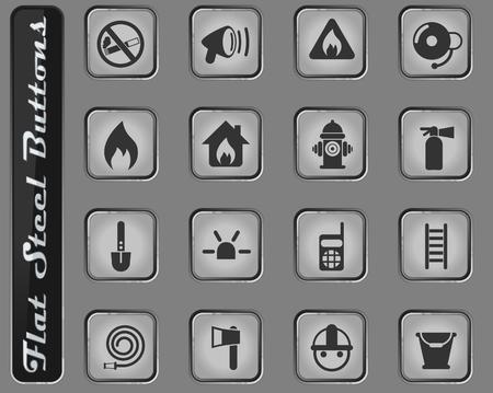 iconos de web de vector de brigada de bomberos en los botones de acero plano