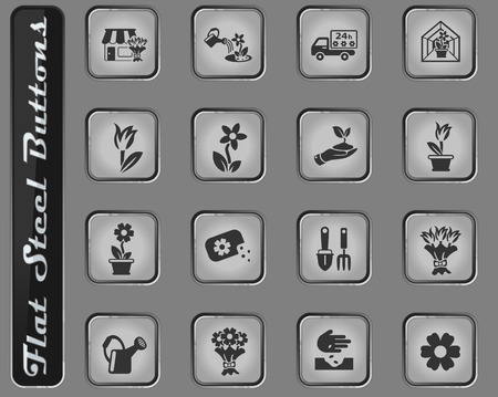 flowers vector web icons on the flat steel buttons Illustration