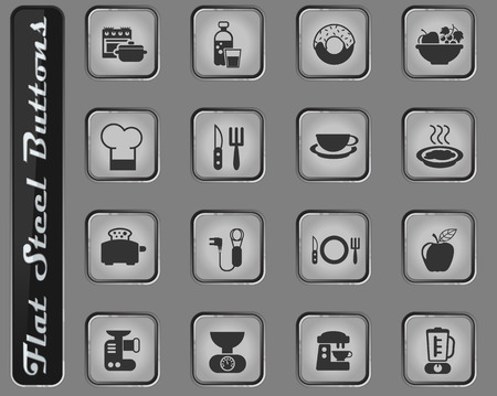 food and kitchen vector web icons on the flat steel buttons Çizim