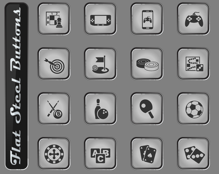 games vector web icons on the flat steel buttons