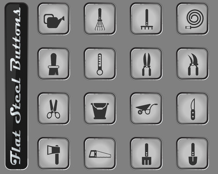 garden tools vector web icons on the flat steel buttons