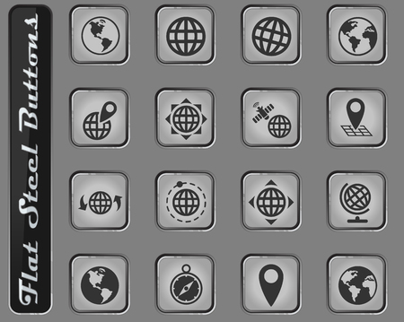 globes vector web icons on the flat steel buttons