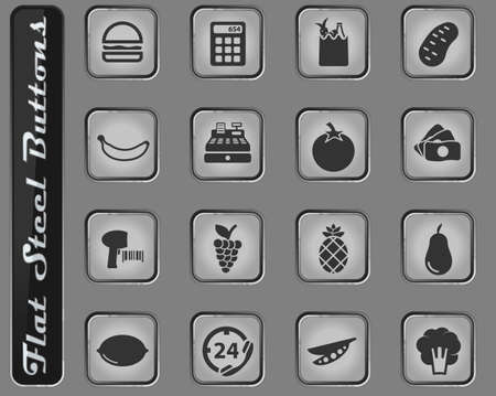 Grocery vector web icons on the flat steel buttons Illustration