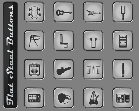 guitar and accessories vector web icons on the flat steel buttons