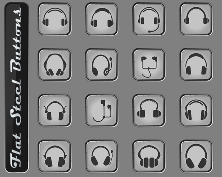 headphones vector web icons on the flat steel buttons 일러스트