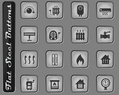 heating vector web icons on the flat steel buttons Illustration