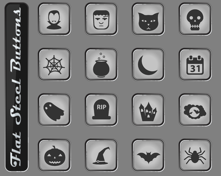 Halloween vector web icons on the flat steel buttons