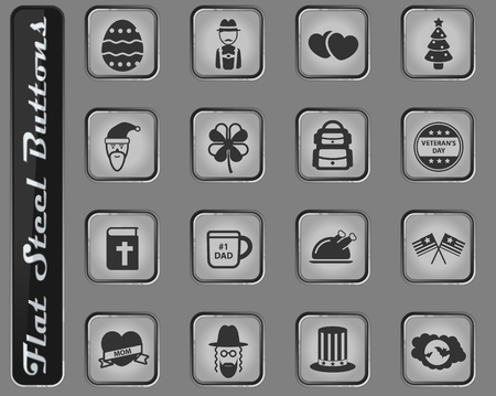 Holidays vector web icons on the flat steel buttons