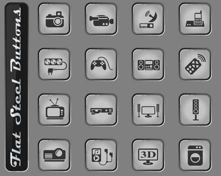 home appliances vector web icons on the flat steel buttons