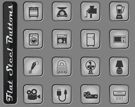 Home applicances vector web icons on the flat steel buttons