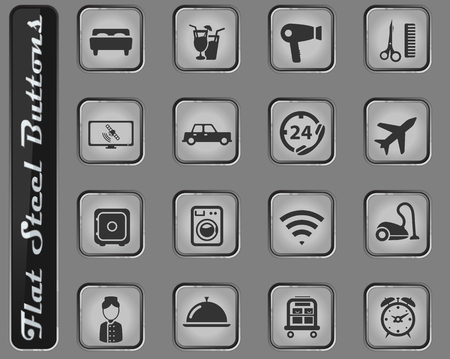 Hotel vector web icons on the flat steel buttons