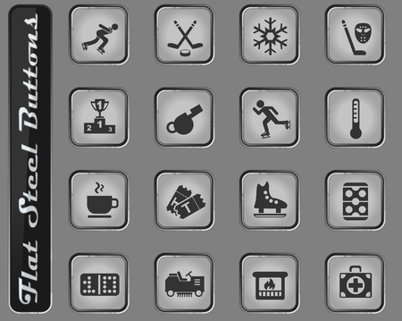 ice rink vector web icons on the flat steel buttons