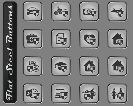 insurance vector vector web icons on the flat steel buttons