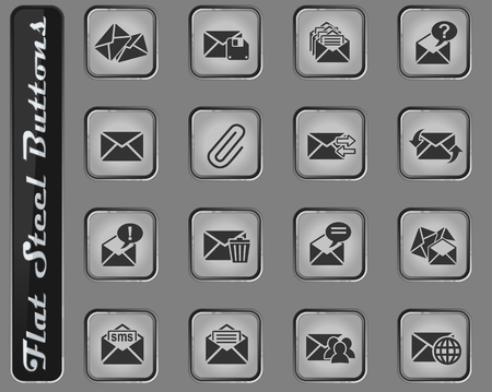 mail and envelope vector web icons on the flat steel buttons