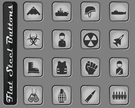 Military vector web icons on the flat steel buttons Vector Illustration