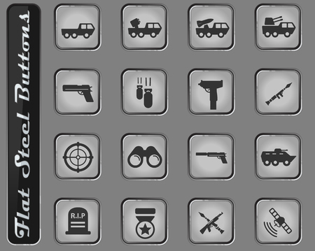 Military vector web icons on the flat steel buttons 版權商用圖片 - 127719240