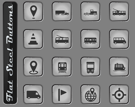 Navigation vector web icons on the flat steel buttons Vectores