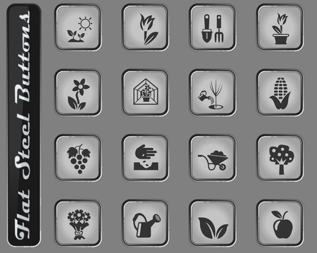plants measuring tools vector web icons on the flat steel buttons