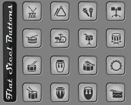 rhythm instruments vector web icons on the flat steel buttons