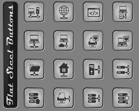 server vector web icons on the flat steel buttons