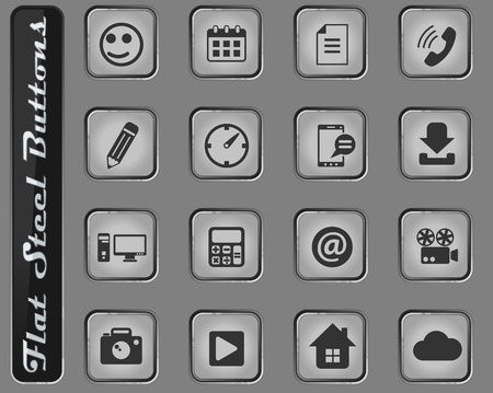 social media vector web icons on the flat steel buttons