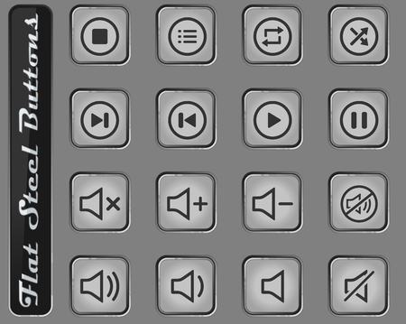 Media player vector web icons on the flat steel buttons