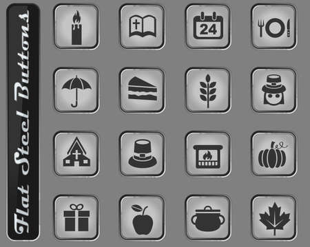 Thanksgiving day vector web icons on the flat steel buttons
